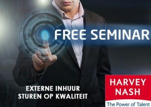 Businessman presses button free seminar on virtual screens. Business, technology, internet and networking concept.
